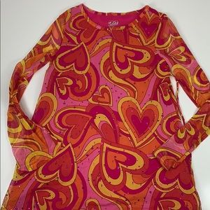 Justice Tunic Top Back Tie Sheer Arms Sequins Pink